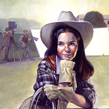 Michael Koelsch is an award winning illustrator, graphic designer, commercial artist, and digital artist whose created this retro poster art of cowgirls