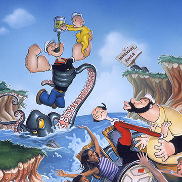 Michael Koelsch is an award winning illustrator, graphic designer, commercial artist, and digital artist whose created this retro poster art of popeye